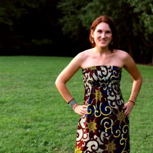 Ashley Nemiro, founder of Mamafrica, modeling one of their beautiful dresses!