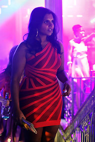 Mindy Kaling of the Mindy Project could care less about her weight - and red dress fierce much?