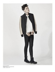 Casey Legler in her new ad campaign for AllSaints, where she models clothes for the men's and women's collections