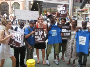 Students protest in Times Square in front of the Hershey store (photo courtesy of fairtradecampus.org).